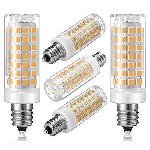 E12 LED Bulb Dimmable, Candelabra E12 Base 7W LED Light Bulb Lighting Equivalent 60W Halogen Bulbs, AC 110-120V Warm White 2700K-3000K Corn Bulbs for Ceiling Fan Bulb,Chandelier, Home Lighting(5-Pack)