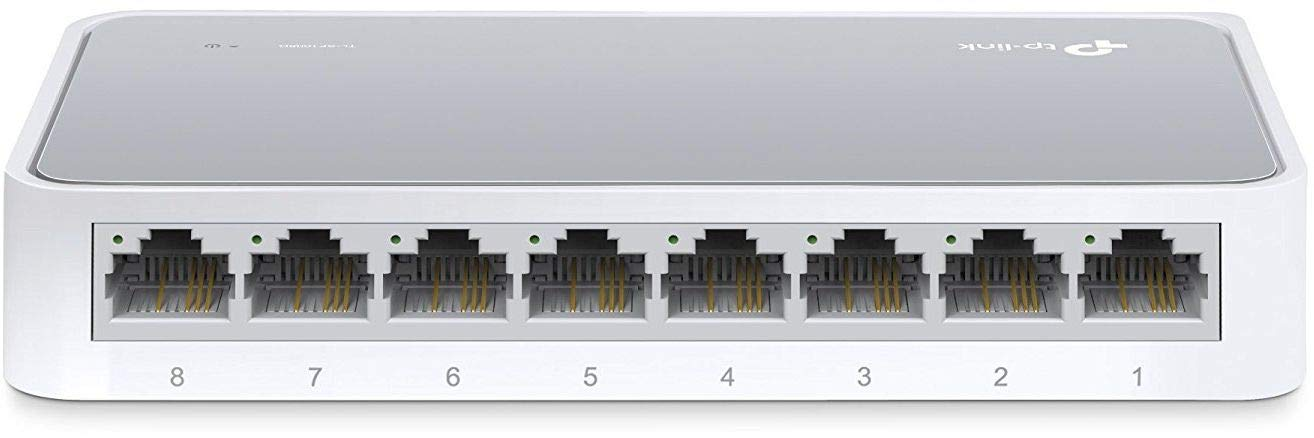 TP-Link 8 Port Fast Ethernet Switch , Desktop Ethernet Splitter , Ethernet Hub , Plug And Play , Fanless Quite , Unmanaged (TL-SF1008D)