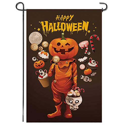 Shmbada Welcome Happy Halloween Burlap Double Sided Garden Flag, Seasonal Holiday Fall Trick or Treat Candy Skull Outdoor Decorative Small Banner for Home Yard Lawn Patio, 12.5 x 18.5 Inch