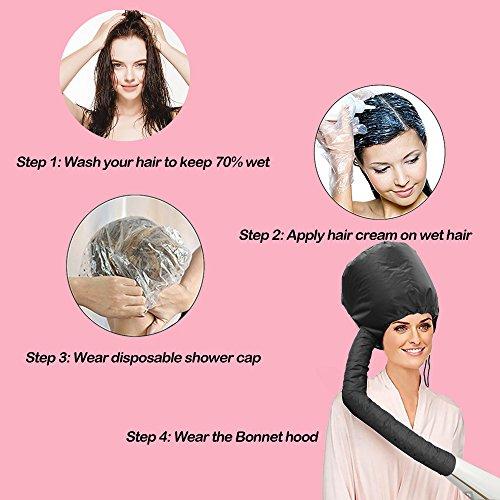 Hair Dryer Bonnet Attachment, SXG Hair Salon Dryer Bonnet Safe hood Hair Heat Cap Home hair dryer bonnet -Black by SXG (Image #2)