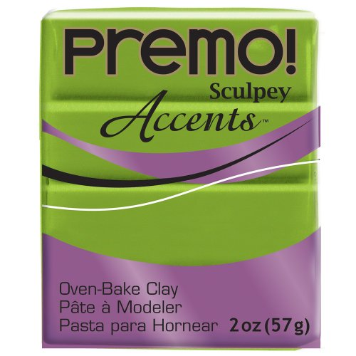 Premo Sculpey Polymer Clay 2 Ounces-Bright Green Pearl