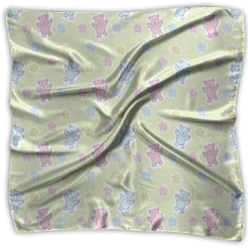 Bandana Head and Neck Tie Neckerchief,Baby Toy Drawing Pattern With Soft Colored Teddy Bears And -