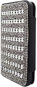 PiGGyB Case for Samsung Galaxy Note 3 White Diamond Studded Black Leather Flip