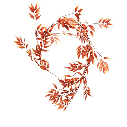 LJDJ Fall Leaves Autumn Leaf Garland Decorations - 5.4 Feet Artificial Silk Fabric Willow Plant Leaves Vines Twigs Garland String Wedding Decor Holiday Party Supplies Faux Wall Greenery Crowns - Fall Vine