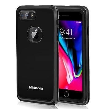 Mishcdea Funda iPhone 7/8 Plus Impermeable, Carcasas IP68 Waterproof para iPhone 7 Plus / 8 Plus con Protector de Pantalla Incorporado (Negro)