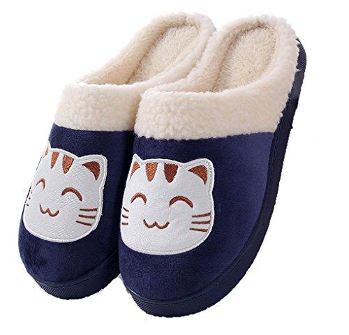 Zoes Heren En Womens Leuke Katoenen Slippers Zachte Huis Slipper Indoor Klomp Slippers Winter Warme Slippers Navy Cat (mannen)