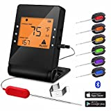 Wireless Meat Thermometer Probe Bluetooth BBQ Remote Digital Cooking Thermometer with 6 Probes Port for Smoker Grilling Oven Griddle Kitchen Support iOS and Android