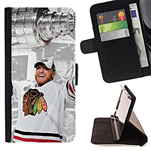 For HTC One M7 Blackhawk Stanley Cup Hockey Leather Foilo Wallet Cover Case with Magnetic Closure