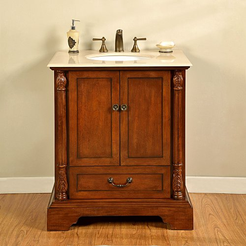 (Silkroad Exclusive JB-0270-CM-UWC-32 Countertop Cream Marfil Marble Stone Single Sink Bathroom Vanity with Cabinet, 32