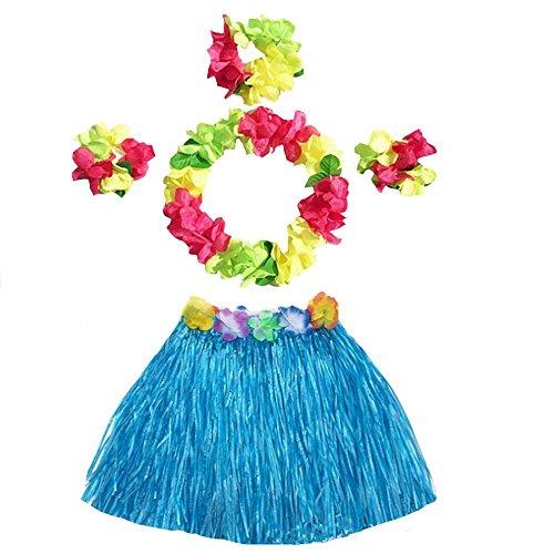 (Girl's Elastic Hawaiian Hula Grass Skirt Dancer Performance Costume Set for Kids (Blue))