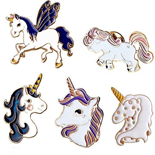Cute Unicorn Enamel Lapel Pin Set - 5Pcs Cartoon Brooch Pin Badges for Clothes Bags Backpacks