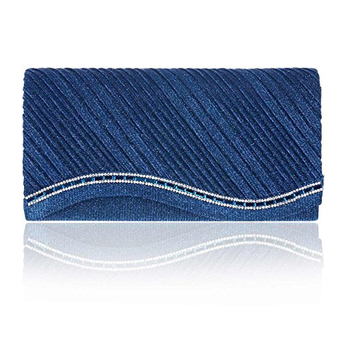Damara Glitter Hem Radian Womens Blue Pleated Evening Bags rqnFrRCxwz