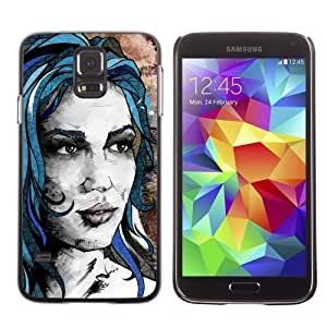 Licase Hard Protective Case Skin Cover for Samsung Galaxy S5 - Beautiful Girl Painting