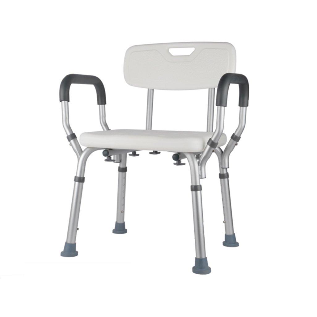 シャワー/バススツールアルミ合金シャワー座席椅子障害援助ノンスリップシャワーチェアは、背もたれとハンドルバスベンチ付きの高齢者/障害者/妊婦のために6人の高さで調整可能です。 200kg B07F353FM9