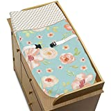 Sweet JoJo Designs Turquoise, Peach and Gold Changing Pad Cover for Watercolor Floral Collection - Pink Rose Flower