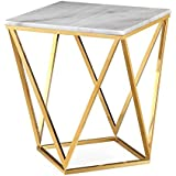 TOV Furniture The Leopold Collection Modern Style Marble Top Side Table with Gold Finish Legs, White