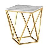 Tov Furniture The Leopold Collection Modern Style Marble Top Side Table with Gold Finish Legs, White For Sale