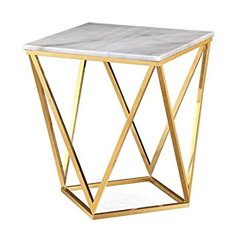 TOV Furniture The Leopold Collection Modern Style Marble Top Side Table  With Gold Finish Legs,