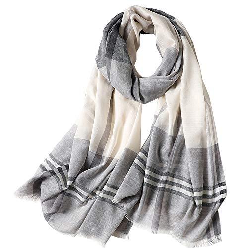Women Cotton Long Scarf Lady's Polyester Shawls Thin Soft Head Kerchief Summer Neckerchief Women's Wraps Spring Autumn (Grey)