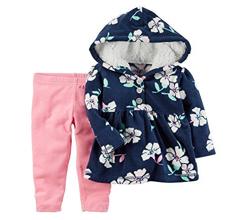 Pants Hoodie Fleece (Carter's Baby Girls' 2 Piece Floral Fleece Hoodie And Pants Set 12 Months)