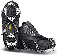 Wirezoll Crampons, Stainless Steel Ice Traction Cleats for Snow Boots and Shoes, Safe Protect Grips for Hiking