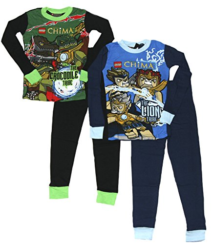 LEGO Boy's Legends of Chima Tight Fit Cotton 4 Piece Pajama Set (10, Blue/Green)]()