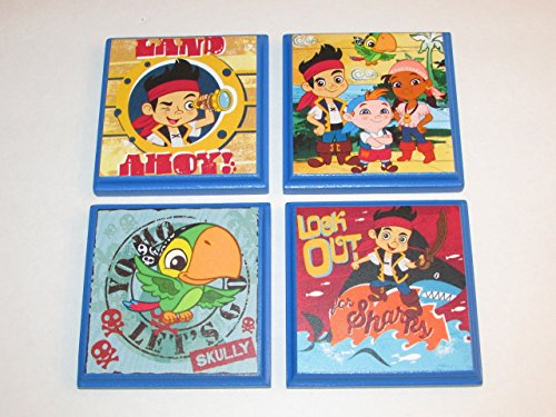(Jake and the Neverland Pirates Room Wall Plaques - Set of 4 Pirate Jake Boys Room Decor - Pirate Room Sign)