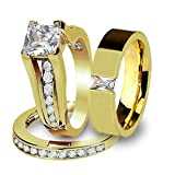 His & Her 14K G.P. Stainless Steel 3pc Wedding Engagement Ring & Men's Band Set Size Women's 07 Men's 10
