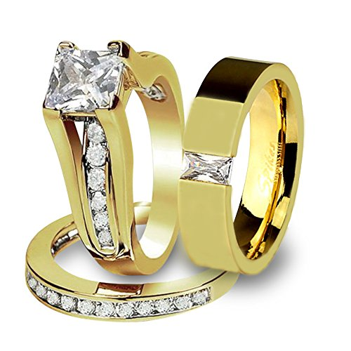 His & Her 14K G.P. Stainless Steel 3pc Wedding Engagement Ring & Men's Band Set Size Women's 08 Men's 10