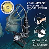 Ano H7500 Canister Dive Light 2750 Lumens Single Cree LED Cave Wreck Diver Primary Diving Light Diving Headlamp Waterproof 650ft/200M 2 x ICR18650 Li-On Rechargeable Batteries Included