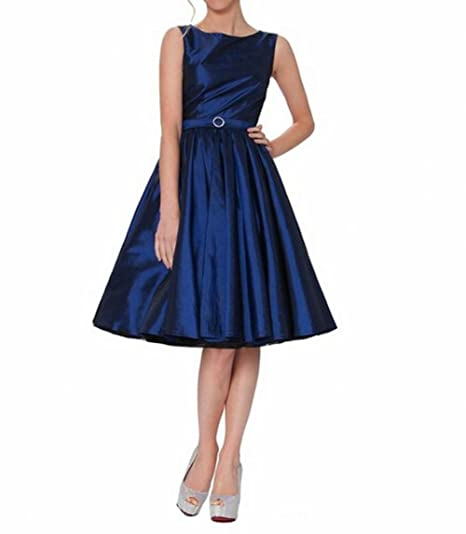 Leader of the Beauty Classy Audrey Hepburn Style Vintage Classic Prom Dress Navy Blue UK 8