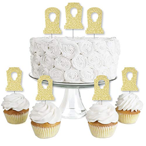 Halloween Treats Graveyard Cake (Big Dot of Happiness Gold Glitter Tombstones - No-Mess Real Gold Glitter Dessert Cupcake Toppers - Graveyard Halloween Party Clear Treat Picks - Set of)