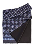 Elizabetta Men's Italian Silk Scarf - Black & Blue Print - Soft Wool Lined