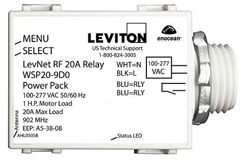 (Leviton WSP20-9D0 LevNet RF 902 MHz Line Voltage Relay Receiver, 100-277V, 50/60 Hz)