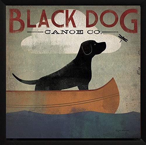 AllPosters US' Black Dog Canoe Co. by Ryan Fowler Framed  Whimsical Labrador Art Picture, Finished Size: ()