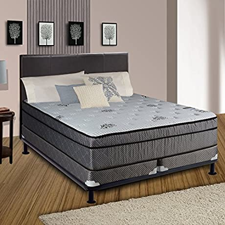 Spring Solution Foam Encased 8 INCH Eurotop SOFT Mattress White Brown Fabric Stretch Knit With Split 5 Inch Wood Fundation Box Spring Size King
