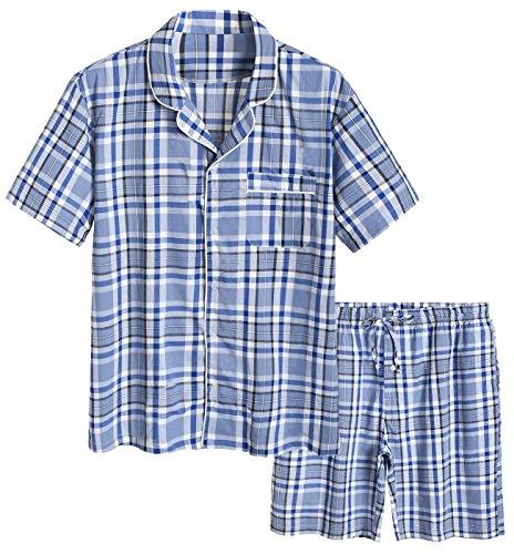 Latuza Men's Cotton Woven Short Sleepwear Pajama Set XL Blue Plaid
