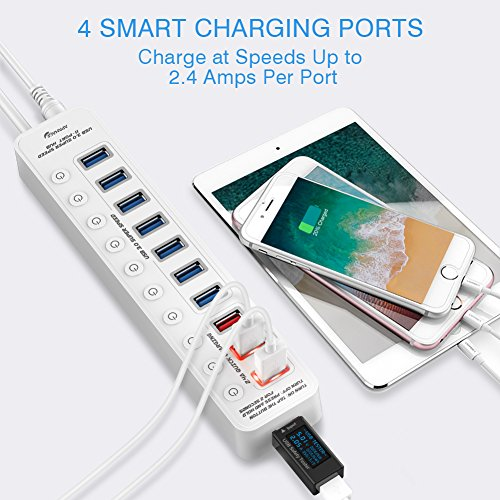 APANAGE USB 3.0 Hub, 11 ports USB Hub (7 High Speed Data Transfer Ports + 4 Smart Charging Ports) with 48W Power Adapter and Individual On/Off Switches for Mac Pro/mini, PC, HDD, USB Flash - White by APANAGE (Image #4)