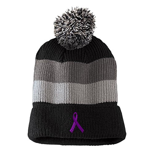 Purple Ribbon Awareness Embroidered Unisex Adult Acrylic Vintage Striped Removable Pom Pom Beanie Winter Hat - Black/Grey Stripes, One Size