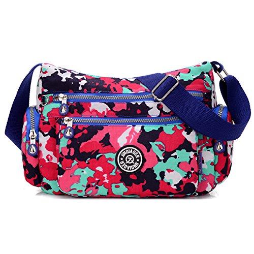 - Tiny Chou Lightweight Waterproof Nylon Shoulder Bag Crossbody Messenger Bag with Lots Zipper Pockets Camo