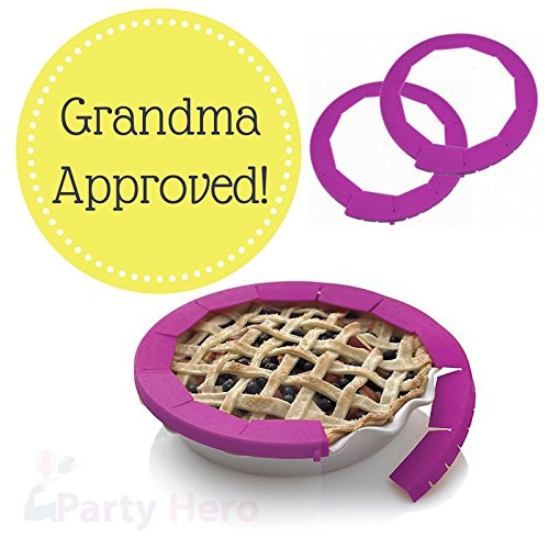 Party Hero Silicone Pie Crust Shield Adjustable Pie Protectors, BPA-free Silicone | 8.5'' - 11.5'' Pie Pan Baking Dish, Purple (2 Pack) - Heat Resistant up To 446 Degree