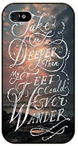 Take me deeper than my feet could ever wander - Sea and clouds - Bible verse IPHONE 5C black plastic case / Christian Verses