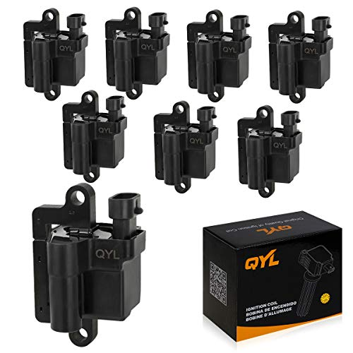 - QYL Pack of 8 Ignition Coils Replacement for Cadillac Escalade Chevy Avalanche Silverado Suburban Tahoe GMC Topkick Savanna Sierra Yukon 1999-2009 4.8L 5.3L 6.0L 8.1L H6T55171ZC 3859078 C1208 UF-271