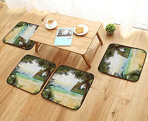 (Printsonne Comfortable Chair Cushions Palm Cocut Trees and Ocean Waves Across Mountains Paradise Island ACH Reuse can be Cleaned W17.5 x L17.5/4PCS Set)