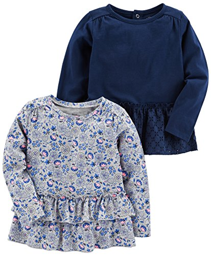 (Simple Joys by Carter's Baby Girls' Toddler 2-Pack Long Sleeve Tops, Gray Floral, Navy, 2T)