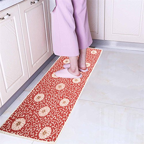 Non Slip Floor Kitchen Mat Accent Area Rug Runner Mr Fantasy Comfort Mat Doormat Asorbent Chinese Flower Pattern Burnt Orange 18''X47''