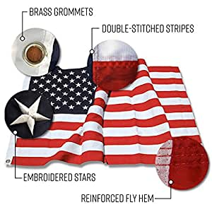 American Flag - 3x5ft Embroidered All Weather American flag, UV Protected 210D Nylon US Flag Perfect for Indoor or Outdoor Use.