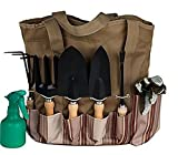 Scuddles 7 Piece Garden Tools Set with 7 Gardening Tools, Digger, Weeder, Rake, Trowel,Transplanter, Garden Tote Bag and Gloves