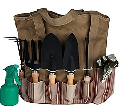 Scuddles 7 Piece Garden Tools Set with 7 Gardening Tools, Digger, Weeder, Rake, Trowel,Transplanter, Garden Tote Bag and Gloves (7 Piece Gathering Set)