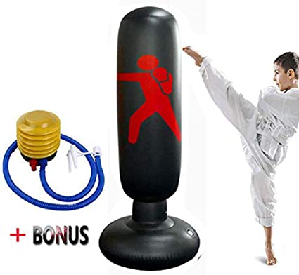 Adult Standing Boxing Punching Bag Inflatable Stand Kick Martial Training New